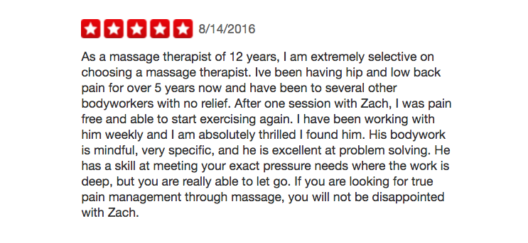 Yelp massage review
